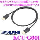 【只今エントリーでポイント5倍&クーポン!】アルパイン KCU-G60i ビルトインUSB/HDMI接続ユニット用 iPod/iPhone接続HDMIケーブル