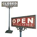 ショッピング閉店 DULTON OPEN-CLOSED SIGN STAND オープン/クローズド・サインスタンド お店 店舗 営業案内 ディスプレイ 店舗什器 おしゃれ かわいい 目立つ 開店 閉店 案内 S355-83