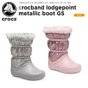 ショッピングcrocband 【20%OFF】クロックス(crocs) クロックバンド ロッジポイント メタリック ブーツ GS(crocband lodgepoint metallic boot GS) キッズ/ブーツ/シューズ/子供用[C/B]