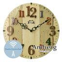 ウォールクロック【Amberg】 電波時計 アンティーク ウッド ガラス レトロ 木目調 とけい 掛け時計 壁掛け
