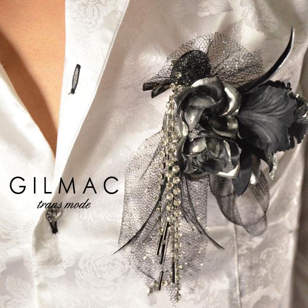 コサージュ ピン バラ 薔薇 フェザー 黒レースリボン ブローチ 日本製 結婚式 入学式 入園式 卒業式 メンズ(シルバーブラック) k1705