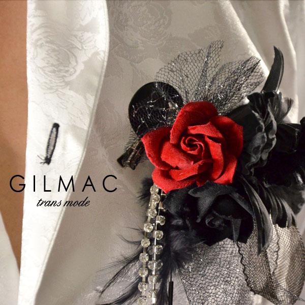 コサージュ ピン バラ 薔薇 フェザー 黒レースリボン ブローチ 日本製 結婚式 入学式 入園式 卒業式 メンズ(レッドブラック) k1705
