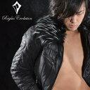 ダウン フェザー フェイクレザー キルティング ライダースジャケット メンズ mens(ブラック黒) 55506