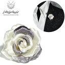 アクセサリー 薔薇 バラ 造花 光沢 ブローチ ラペルピン ブートニエール(ホワイト白) 1120201 0601楽天カード分割