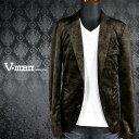 ジャケット ベロア 薔薇柄 バラ柄 テーラード 2釦 ノッチドラペル ジャケット メンズ mens(カーキ緑ブラック黒) 957502