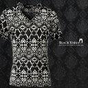 Tシャツ 幾何学 ネイティブ柄 モノトーン Vネック 半袖Tシャツ メンズ mens(ブラック黒ホワイト白) 163207
