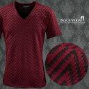 Tシャツ ジグザグ ボーダー Vネック 半袖Tシャツ メンズ(レッド赤ブラック黒) 163215 0601楽天カード分割 02P03Dec16