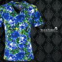 Tシャツ 花柄 バラ 水墨画 絵画 Vネック 半袖Tシャツ メンズ(ブルー青) 163216 0601楽天カード分割 02P03Dec16