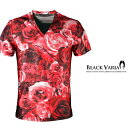 Tシャツ 花柄 バラ柄 薔薇 Vネック 半袖Tシャツ メンズ(レッド赤) bv05 0601楽天カード分割