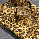 シャツ スキッパー ヒョウ柄 ドレスシャツ ボタンダウン 日本製 サテンシャツ(イエロー黄) 935142