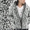 ファージャケット ヒョウ 豹柄 メンズ フェイクファー ジップアップ パーカー ジャケット ブルゾン(ホワイト白ブラック黒) 49104