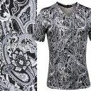 Tシャツ ペイズリー柄 Vネック 半袖 メンズ 日本製 細身 総柄 半袖Tシャツ(グレー灰ブラッ
