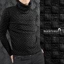 タートル ブロックチェック 市松模様 メンズ 日本製 ハイネック ストレッチ 長袖 タートルネック mens(ブラック黒) 173318
