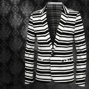 カットジャケット ボーダー メンズ ノッチドラペル シングル 1釦 長袖 ジャケット(ホワイト白ブラック黒) mb005ns