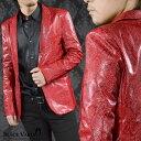 テーラードジャケット パイソン柄 PUレザー メンズ 1釦 ノッチドラペル 合成皮革 ヘビ 日本製 レザージャケット mens(レッド赤) 931725