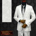 ショッピングJapan スーツ 花柄 薔薇柄 ジャガード 2ピーススーツ 日本製 結婚式 無地 ドレススーツ mens(ホワイト白) set1225