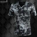 Tシャツ ムラ柄 メンズ Vネック 光沢 日本製 細身 立体 半袖Tシャツ mens(ブラック黒グレー灰) 181300