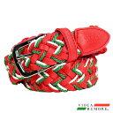 VIOLA rumore ヴィオラ ビオラ ベルト メッシュ メンズ 編み込み フリーサイズ 編み込みベルト(レッド赤グリーン緑) 81350