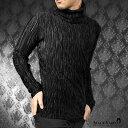 男性流行服飾 - タートル アコーディオンプリーツ 無地 メンズ 長袖 シンプル タートルネック mens(ブラック黒) 181316