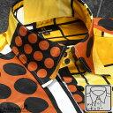 サテンシャツ ドゥエボットーニ 幾何学模様 レギュラーカラー ジャガード 日本製 衣装 ドレスシャツ メンズ mens(オレンジ橙) 181705