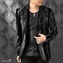 テーラードジャケット フェイクファー メンズ 1釦 ノッチドラペル 日本製 ムラ スリム ジャケット mens(ブラック黒) 931736
