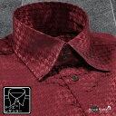 ショッピングサテン サテンシャツ ドレスシャツ ドゥエボットーニ チドリ 無地 レギュラーカラー 日本製 千鳥格子 ジャガード パーティー メンズ mens(ワイン赤レッド) 181712
