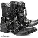 レースアップブーツ スタッズ ベルト メンズ パイソン ショートブーツ 靴 mens(ブラック黒) 6802