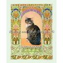 クロスステッチ刺繍 猫 図案 Heaven And Earth Designs(HAED) - Lesley Anne Ivory - Gemma in Art Nouveau Frame
