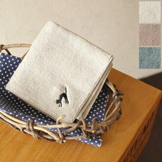 yangany yongyi キャットエンブロイダリー hand towel / f-5520 (3 colors)