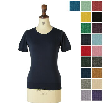 JOHN SMEDLEY Smedley DANIELLA / short sleeve cotton knit (all 19 colors) (S & M)