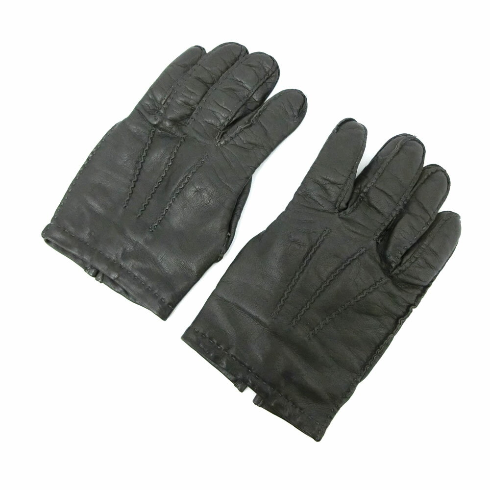 Black leather gloves on sale - Worn Sale Ricci Napoli Richnapoli 7 1 2 Charcoal Black Leather Gloves Handling Beams Made In Italy Hand 084324