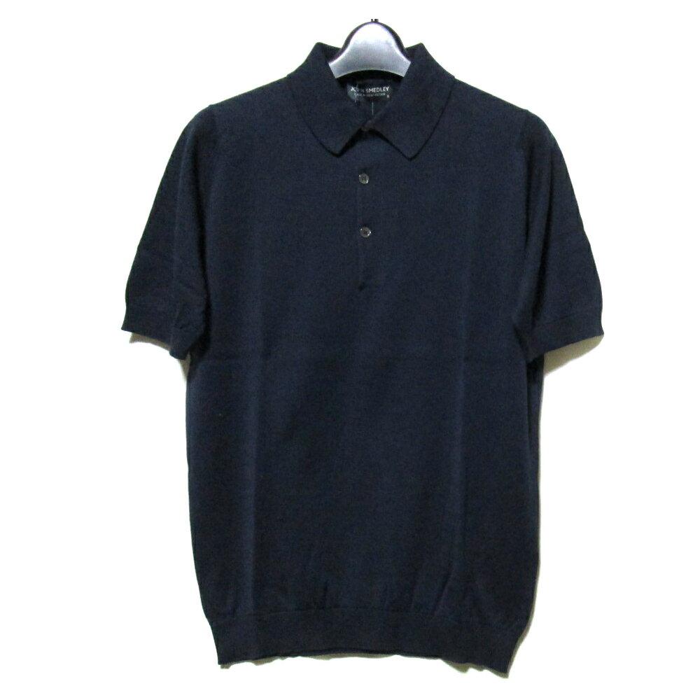 【新古品】 JOHN SMEDLEY ジョンスメドレー イギリス製 ネイビーコットンニットポロシャツ (濃紺 半袖) 099668 【中古】