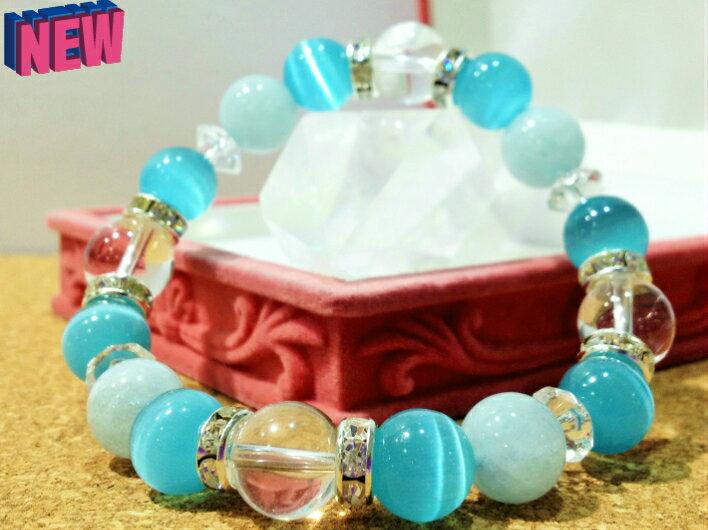 可愛い大粒♪『幸せな結婚』美しいブルーの透明石 3月の誕生石 パワーストーン ブレスレット アクアマリン/ブルーキャッツアイ/水晶のかわいいパワーストーン14cm〜16cm ヒーリング ストーン 天然石[数珠][念珠]【大粒10mm】クリパケ