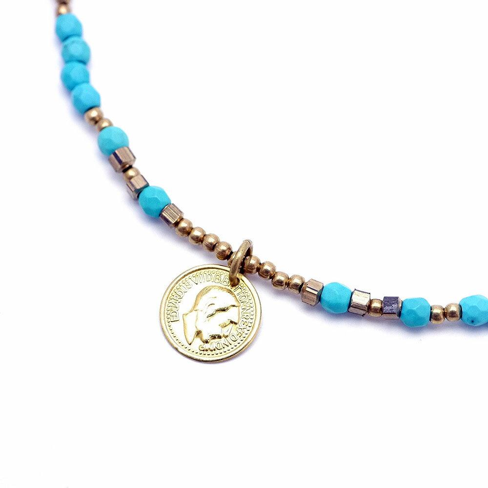 si ゴールドコイン ターコイズ ビーズ ネックレス メンズ 金色 [幅5mm 長さ43cm] トルコ石 青 ブルー パワーストーン 夏アクセ サマーアクセサリー 天然石