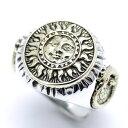 シルバー925 マヤの太陽神リング メンズ ko (金 サン 顔 フリーサイズ ) (ゴールド シルバーリング 指輪 太陽 フェイス) GOOD VIBRATIONS シルバーアクセサリー