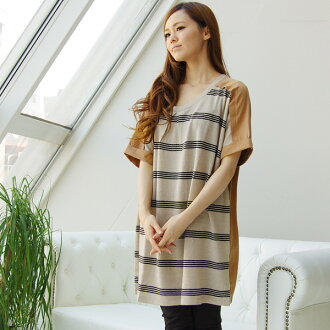 Made in Japan ★ effortlessly Chin tunic ☆ レトロボーダーチュニックワン piece (Z52628) ★ ships