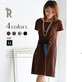 It is cut-and-sew one piece (Z53478)fs3gm dress ☆ ribbon motif well in the autumn that is adult LADY