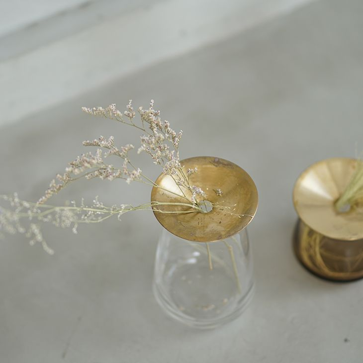KINTO キントー LUNA ベース 80×130mm(クリア) ルナ ソーダガラス 真鍮 花器 花瓶 フラワーベース 一輪挿し 北欧 THKT19SS■ KINTO※メーカー直送品