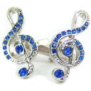 ブルーグラデーションストーンのト音記号カフス カフスボタン カフリンクス cufflinks cuffs メンズ 男性 結婚式 ユニーク 音楽 楽器