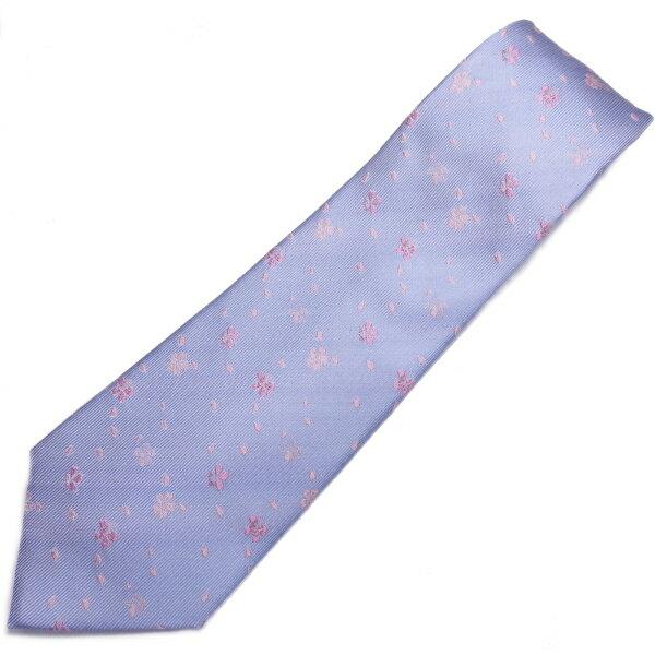 富士桜工房 水色 桜吹雪 日本製シルクジャカードの和風 ネクタイ