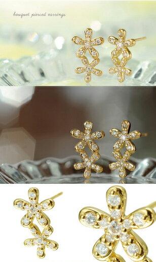 K18 ダイヤモンド ピアス bouquet ...の紹介画像2