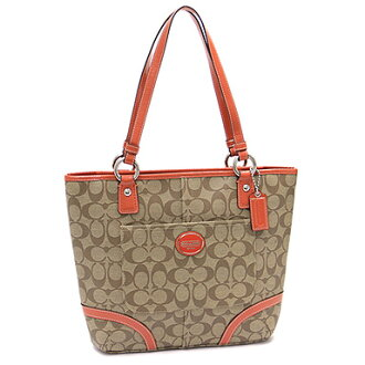 Coach COACH bag outlet F18917 SKHP8 peytonheritagisigneure tote bag khaki / persimmon