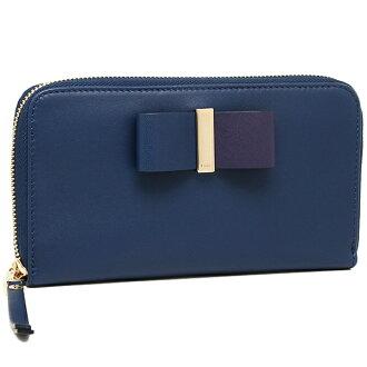 Chloe CHLOE 3P0290 889 BD6 LEATHER BOW LONG ZIPPED WALLET wallets purse BLUE VELVET