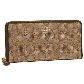 Coach purse outlet COACH F53539 IMC7C outline signature large zip around wallet khaki / Brown