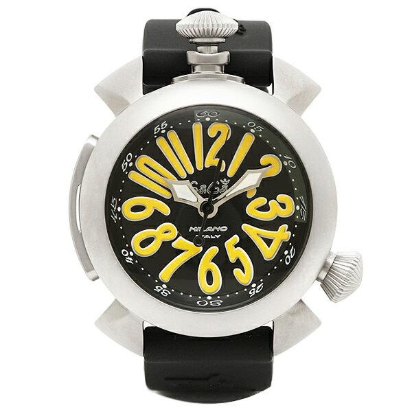 ガガミラノ 時計 メンズ GAGA MILANO 5040.2-BLKRUBBER DIVING ダイビング48MM 手巻き 腕時計 ウォッチ ブラック/シルバー/イエロー