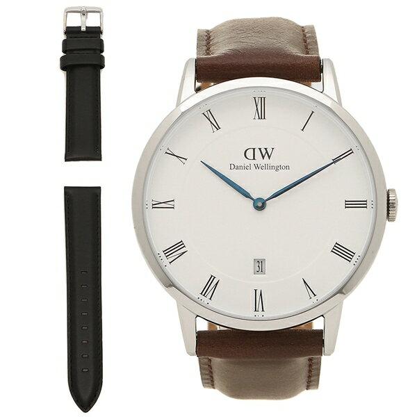 ダニエルウェリントン 腕時計 メンズ 替えベルト付き Daniel Wellington DW4-Mens Set-Silver 1123DW ホワイト シルバー ブラウン ブラック
