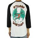 STUSSY ステューシー Double Dragon Raglan (White/Black) ダブルドラゴン メンズ ストリート ファッション 7分袖 ラグラン 17HO