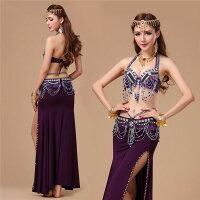 アラビア風ベリーダンス衣装 3点セット ビーズ玉付きブラトップ ヒップベルト スリットスカートベリー衣装ベリーダンスセット6色 DP016Z
