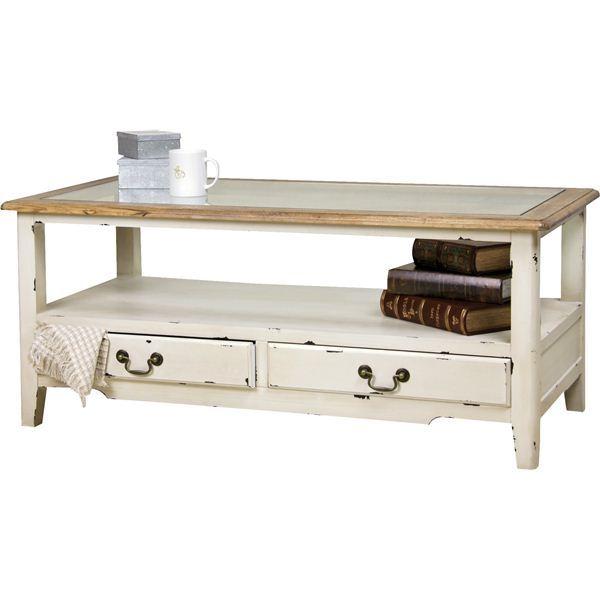 【ポイント10倍】コーヒーテーブル 【ブロッサム】 木製/強化ガラス製 引き出し収納付き COL-013 木製のおしゃれなサイドテーブル(机)防水