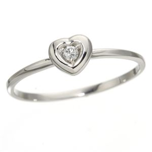 【ポイント10倍】K10ハートダイヤリング 指輪 ホワイトゴールド 19号 ダイヤモンドリング